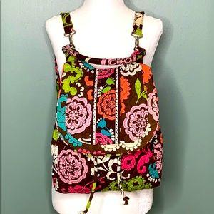 Vera Bradley Brown Floral Quilted Backpack Tote